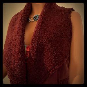 Caslon faux shearling burgundy vest